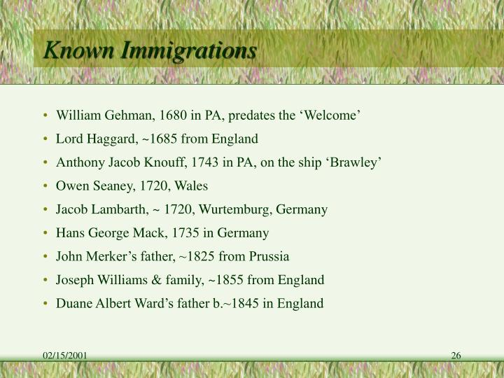Known Immigrations