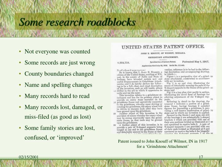 Some research roadblocks