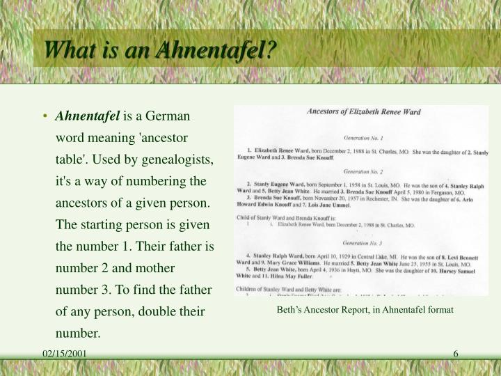 What is an Ahnentafel?