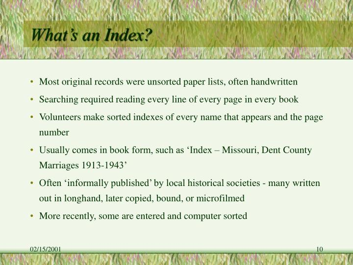 What's an Index?