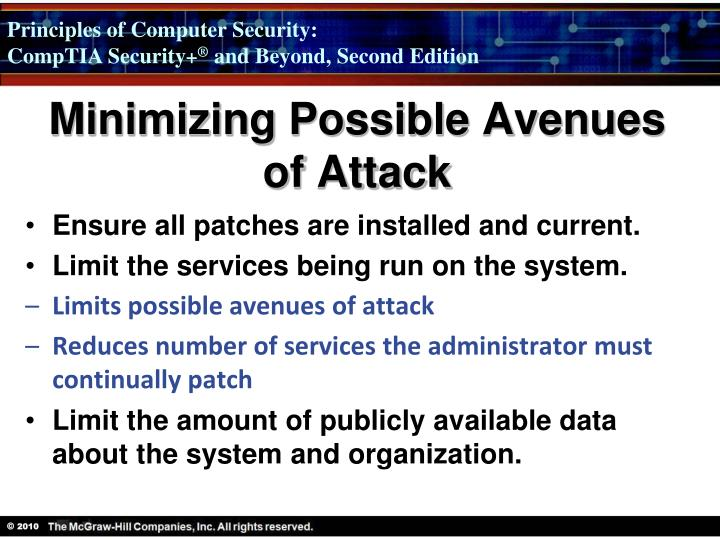 Minimizing Possible Avenues of Attack