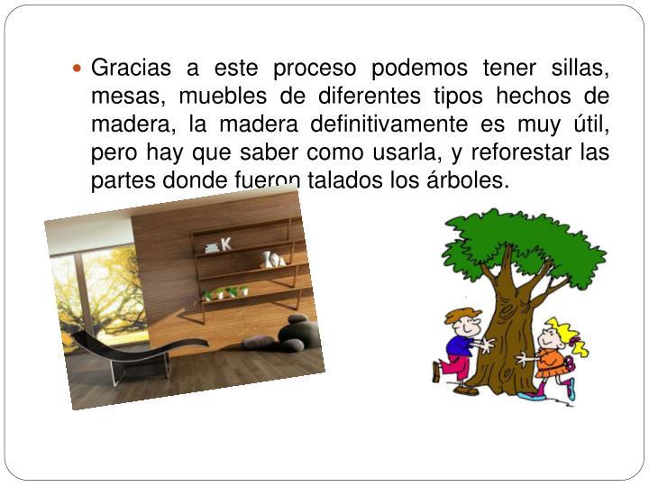 Gracias a este proceso podemos tener sillas, mesas, muebles de diferentes tipos hechos de madera, la madera definitivamente es muy útil, pero hay que saber como usarla, y reforestar las partes donde fueron talados los árboles.