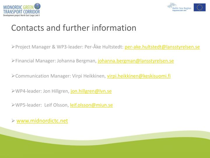 Contacts and further information