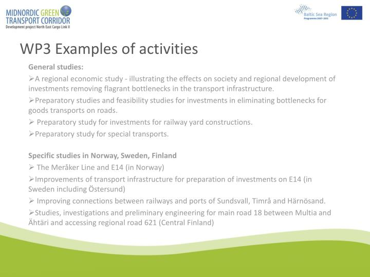 WP3 Examples of activities