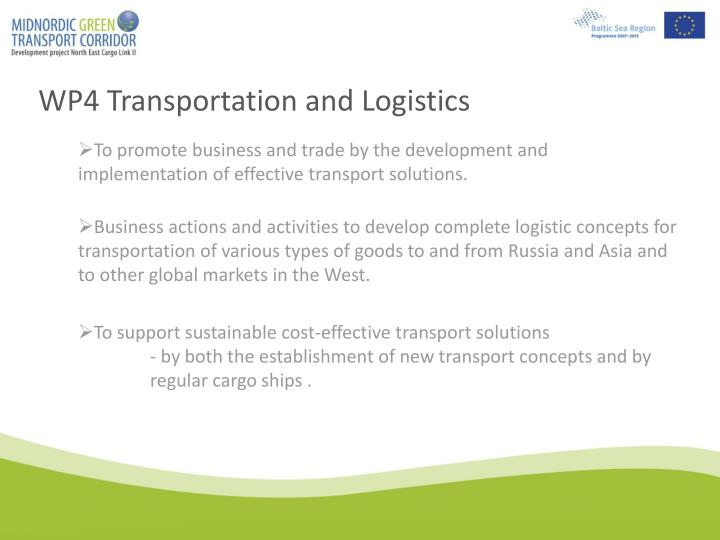 WP4 Transportation and Logistics