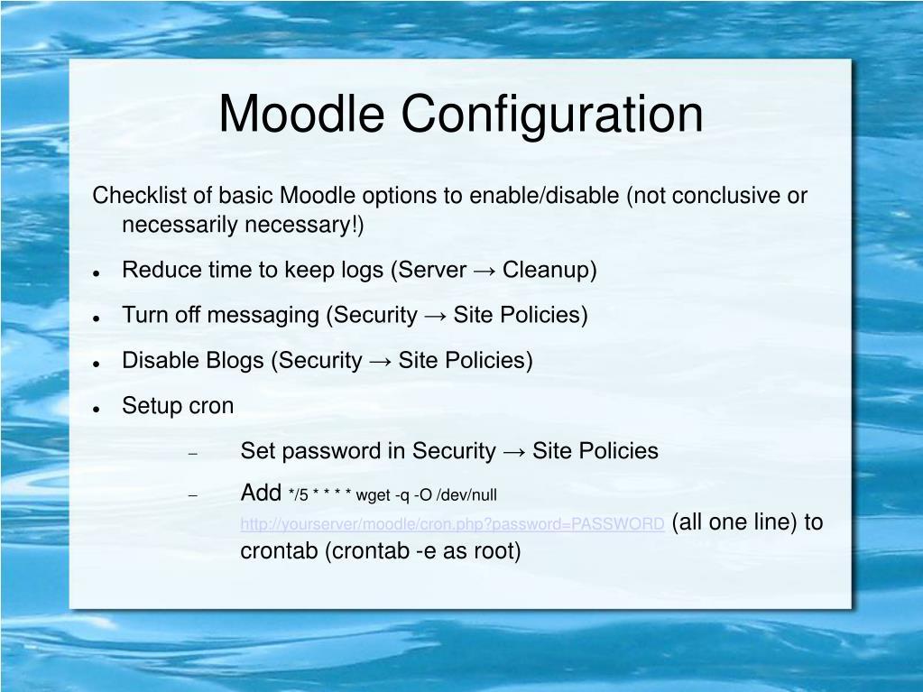 Moodle Configuration