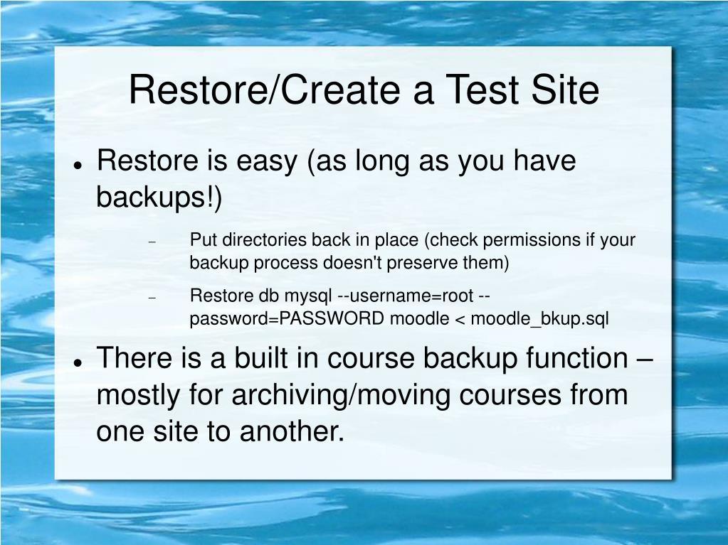 Restore/Create a Test Site