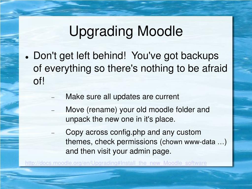 Upgrading Moodle