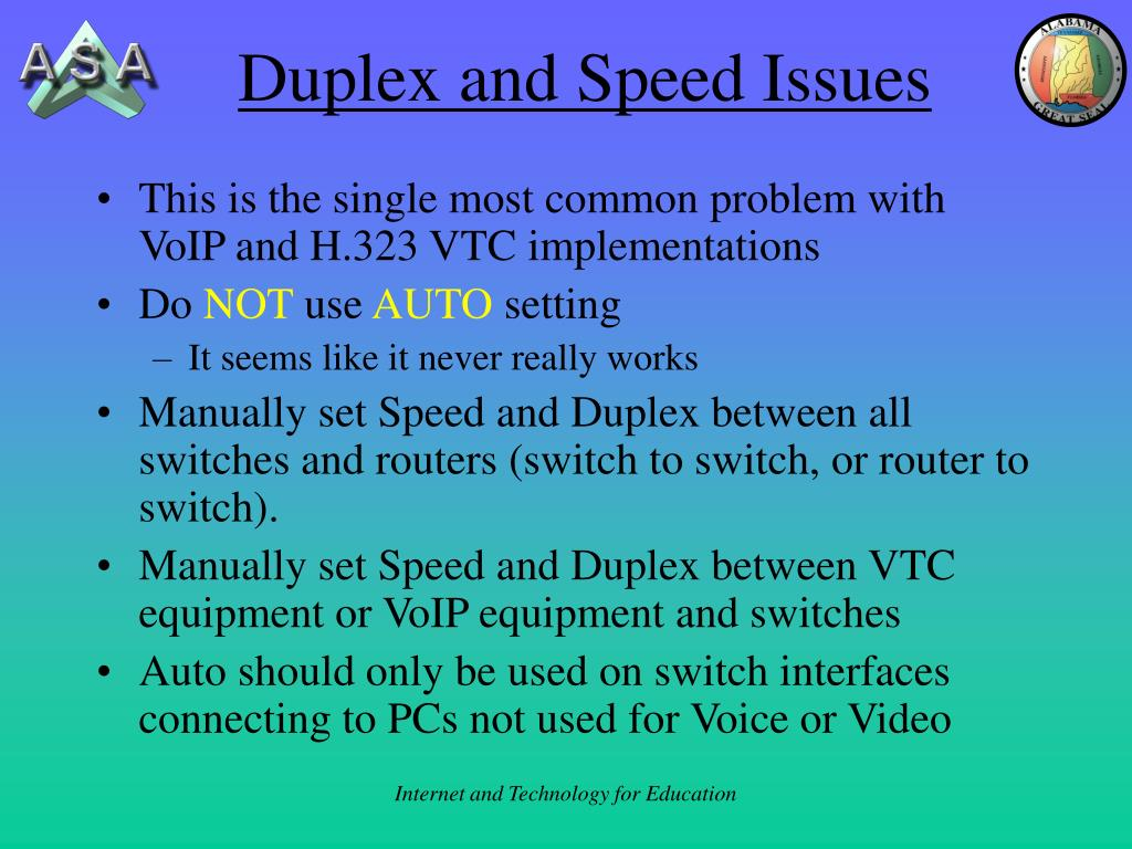 Duplex and Speed Issues