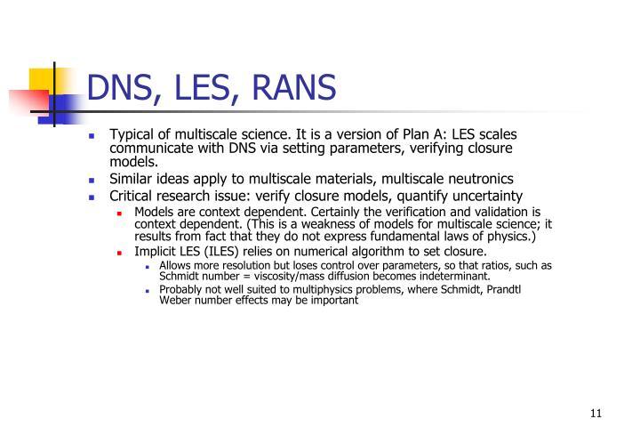 DNS, LES, RANS