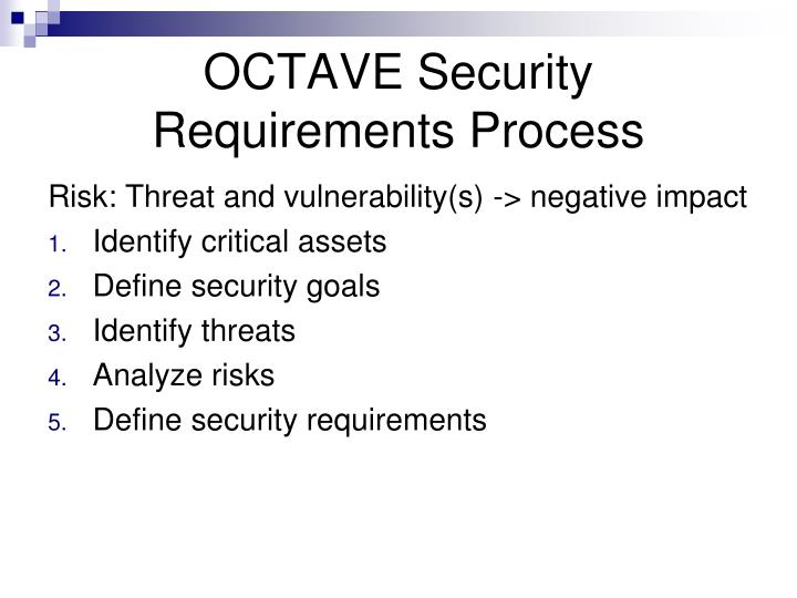 OCTAVE Security Requirements Process