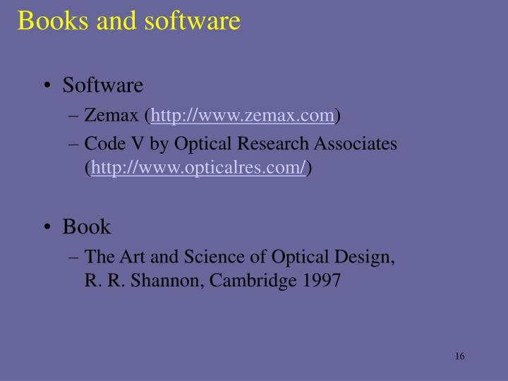 Books and software
