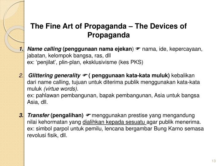 The Fine Art of Propaganda – The Devices of Propaganda