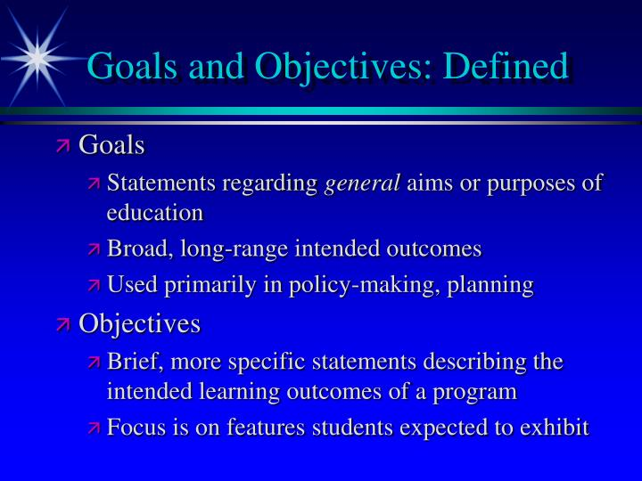 Goals and Objectives: Defined