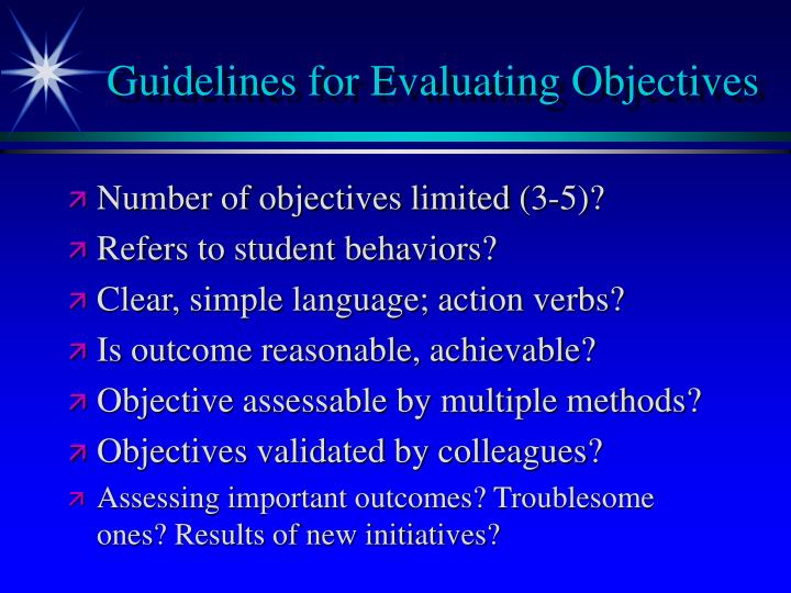 Guidelines for Evaluating Objectives