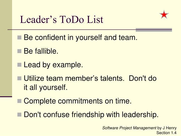 Leader's ToDo List