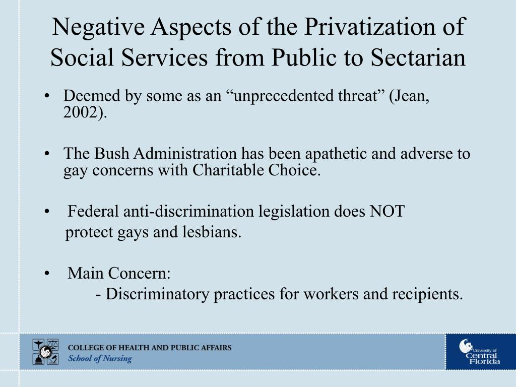 Negative Aspects of the Privatization of Social Services from Public to Sectarian