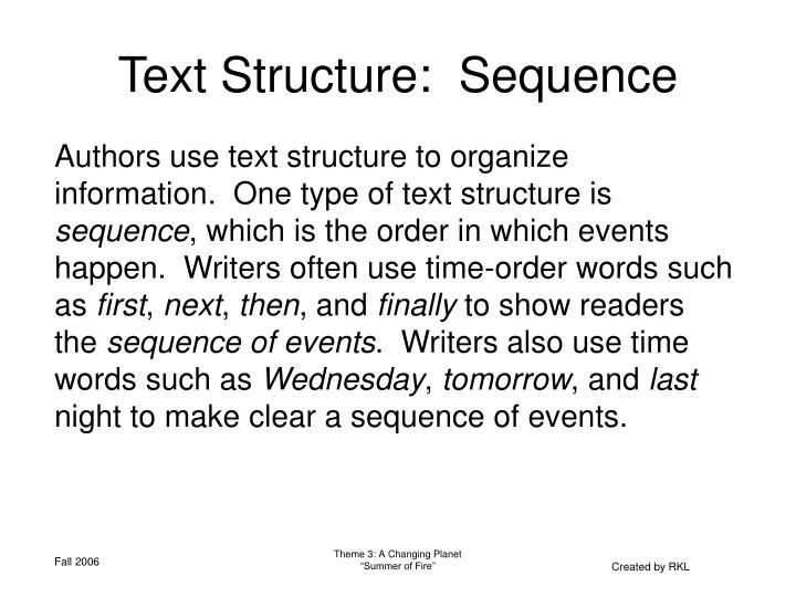 Text Structure:  Sequence