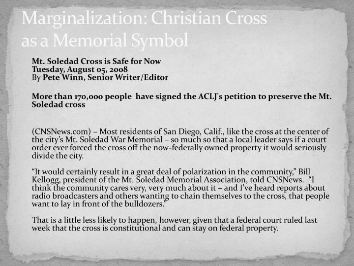 Marginalization: Christian Cross