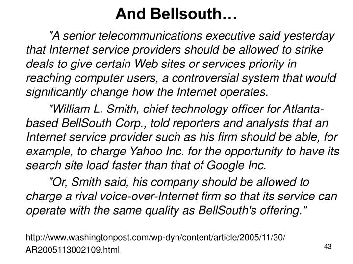 And Bellsouth…