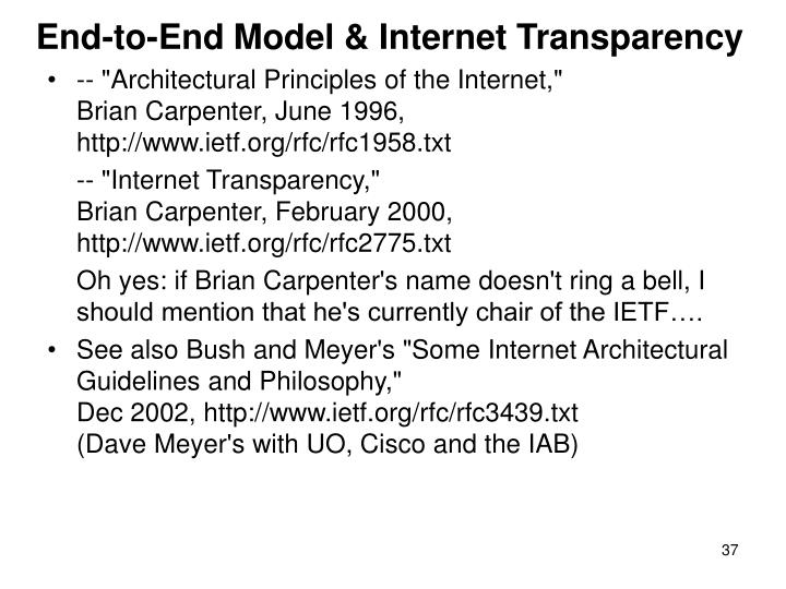 End-to-End Model & Internet Transparency