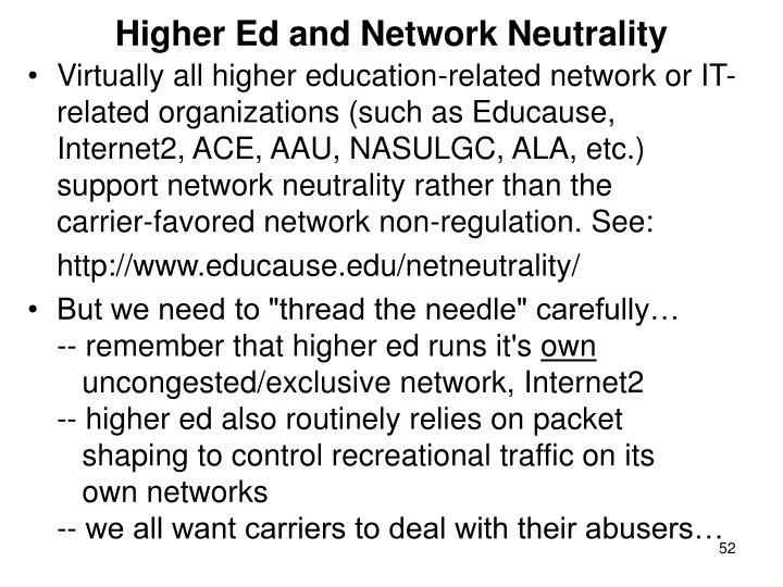 Higher Ed and Network Neutrality