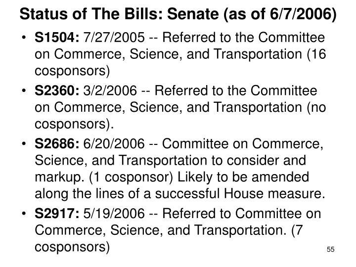 Status of The Bills: Senate (as of 6/7/2006)