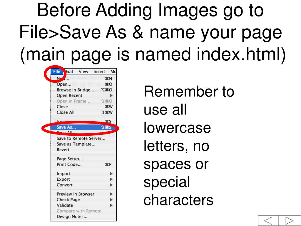 Before Adding Images go to File>Save As & name your page