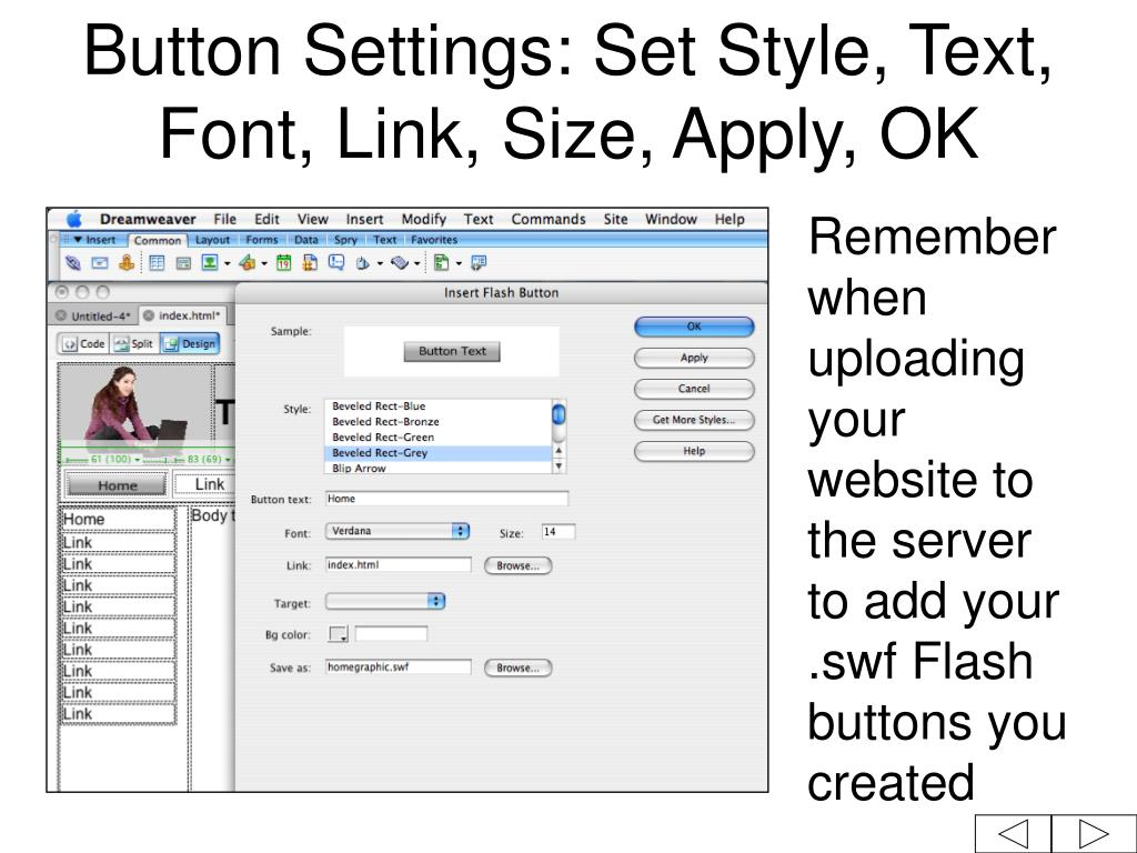 Button Settings: Set Style, Text, Font, Link, Size, Apply, OK