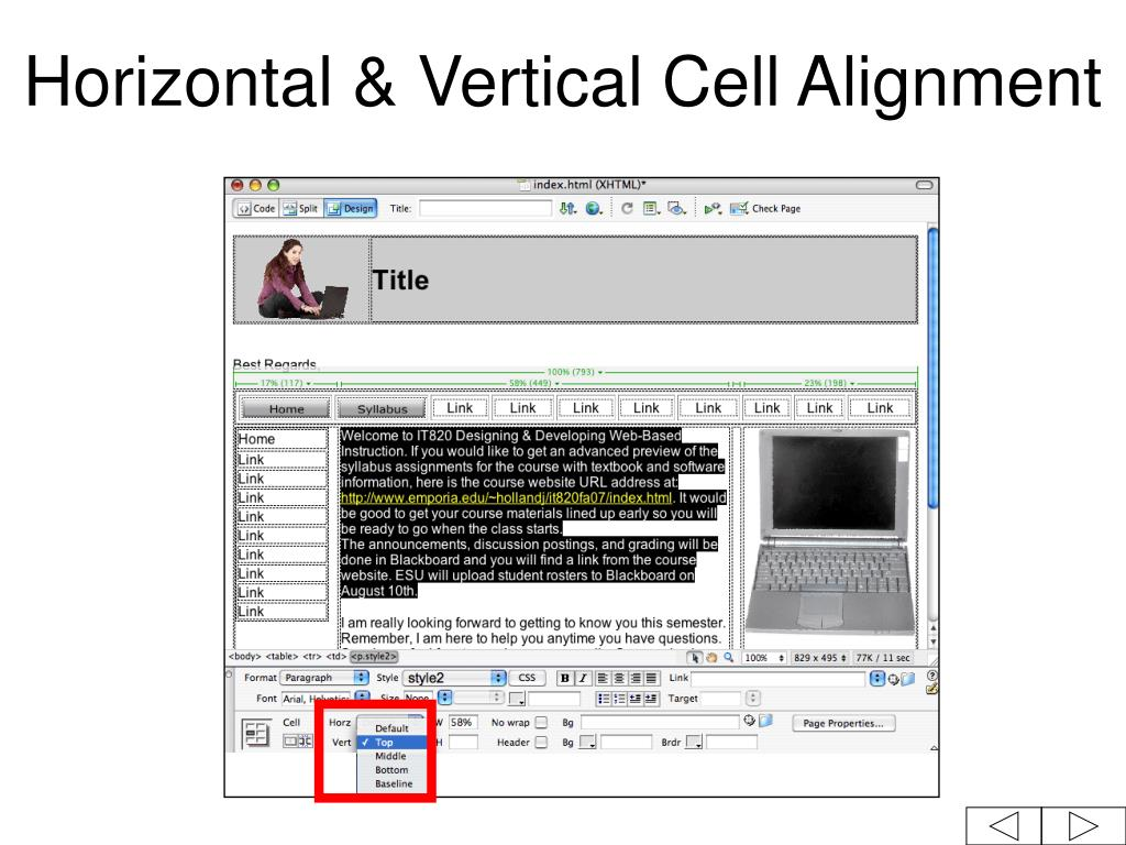 Horizontal & Vertical Cell Alignment