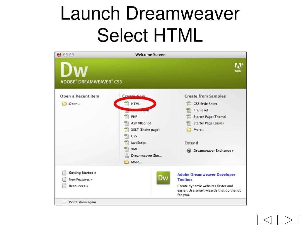 Launch Dreamweaver