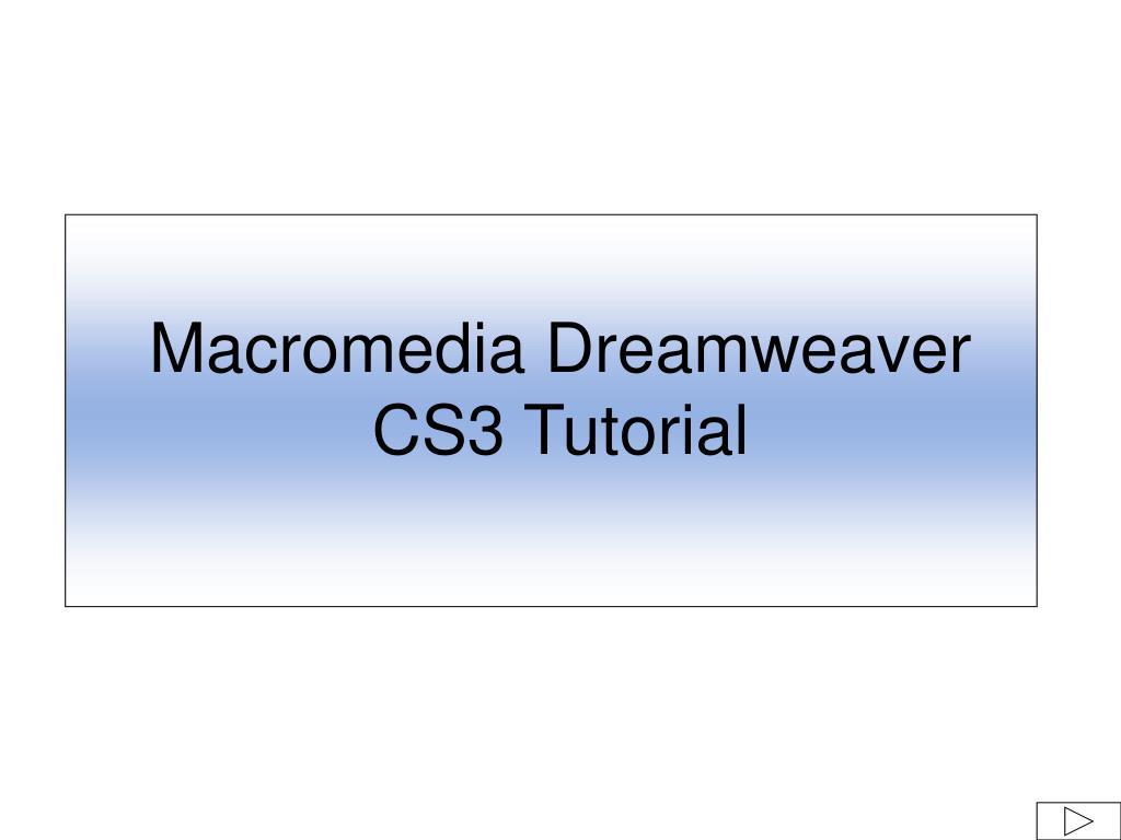 macromedia dreamweaver cs3 tutorial