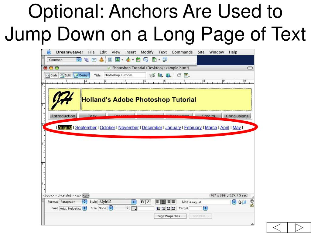 Optional: Anchors Are Used to Jump Down on a Long Page of Text