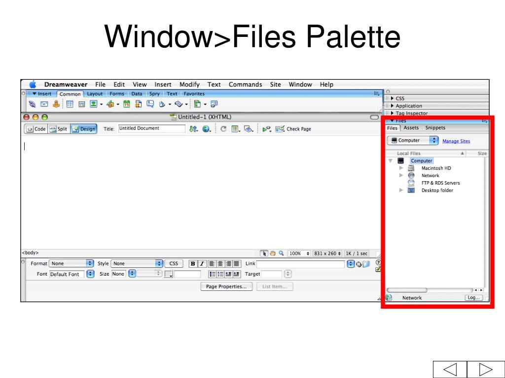 Window>Files Palette