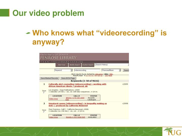 Our video problem