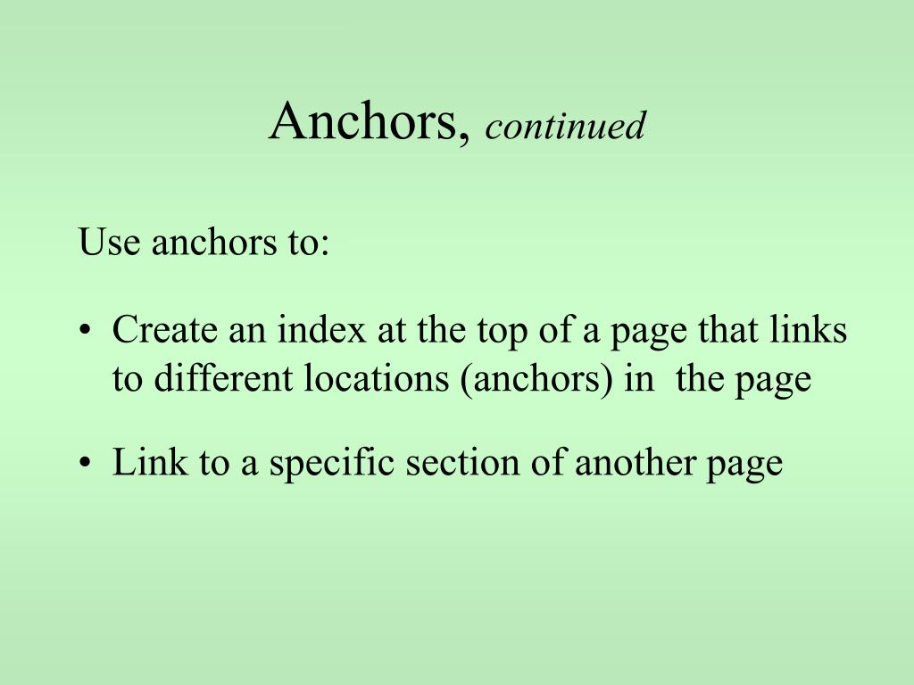 Anchors,