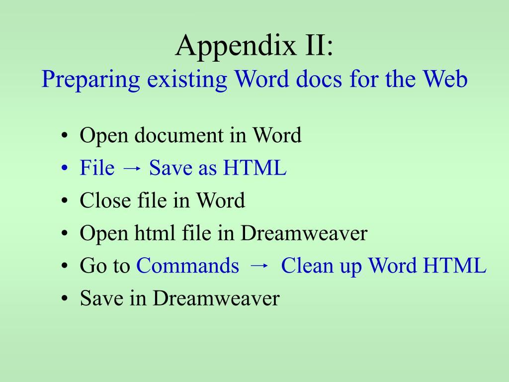 Appendix II: