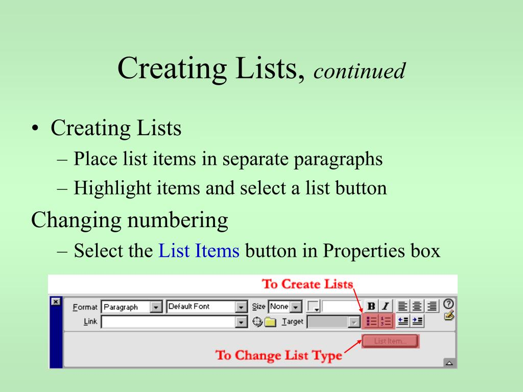 Creating Lists,