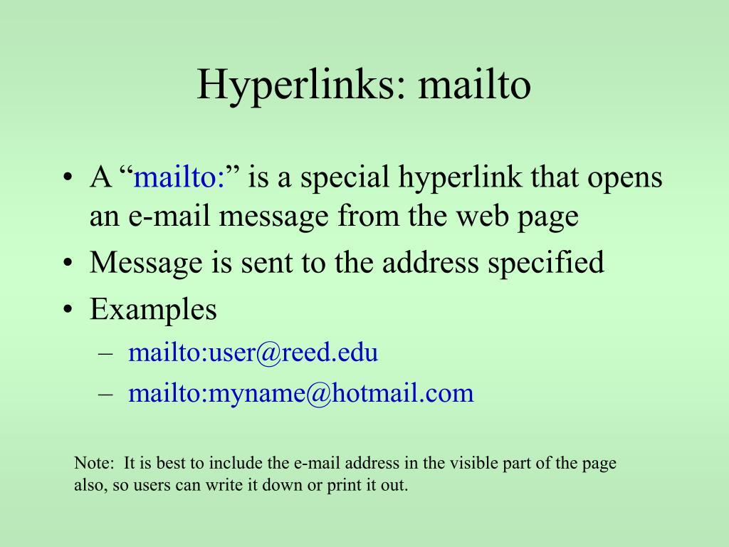Hyperlinks: mailto