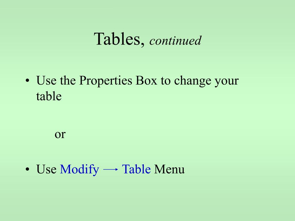 Tables,