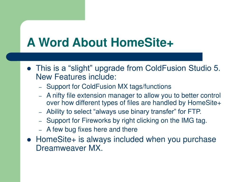A Word About HomeSite+