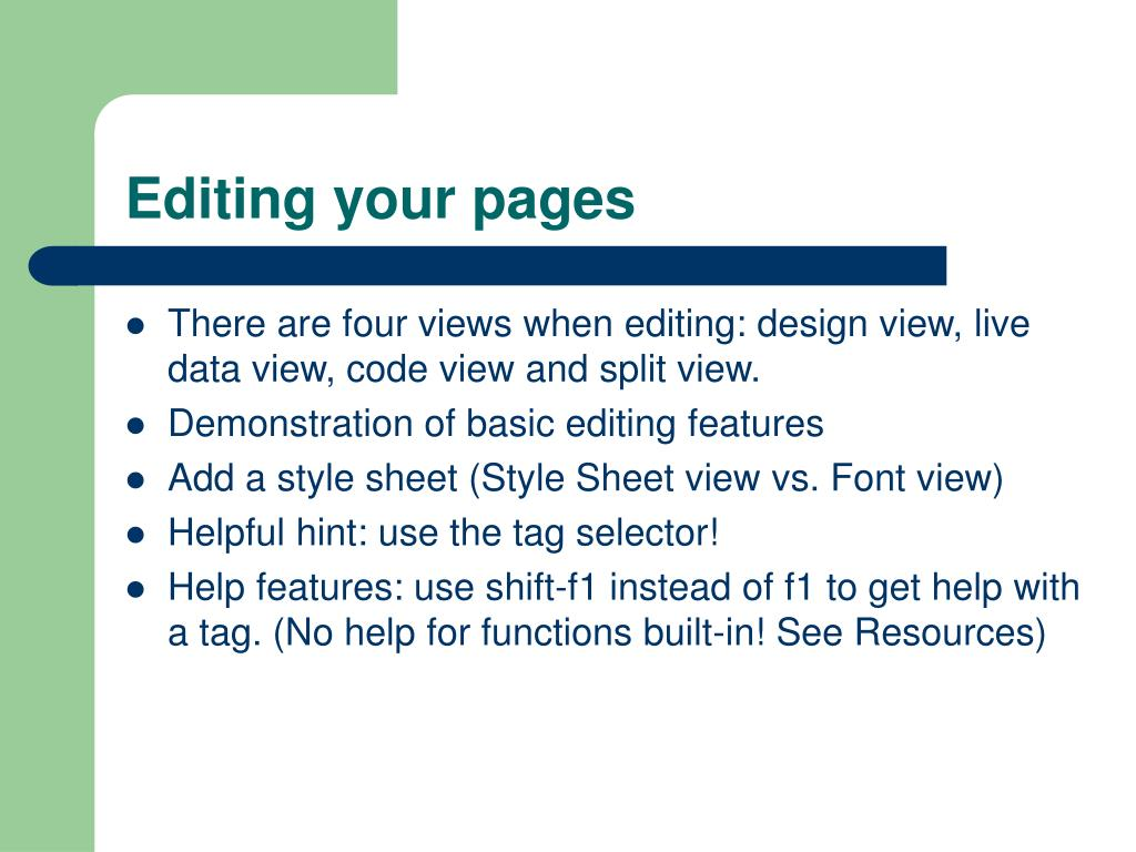 Editing your pages