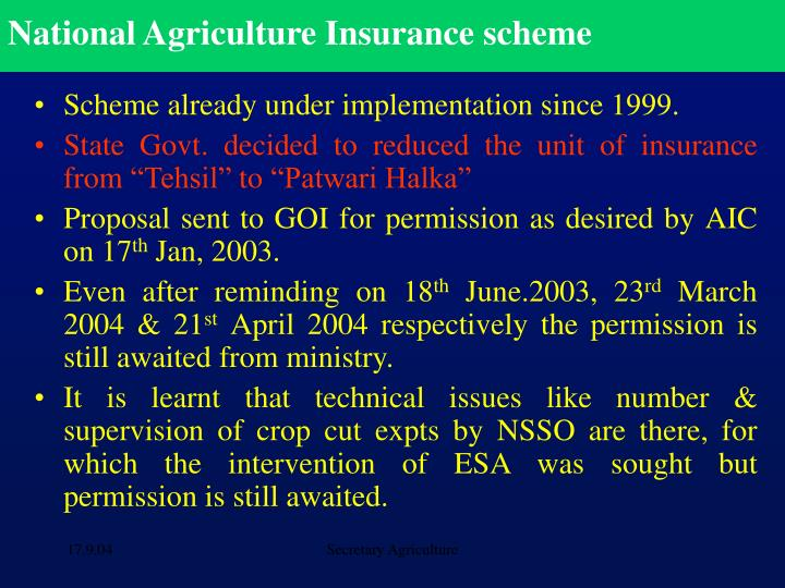 National Agriculture Insurance scheme