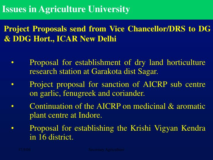 Issues in Agriculture University