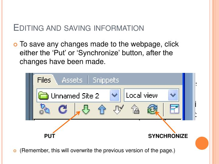 Editing and saving information