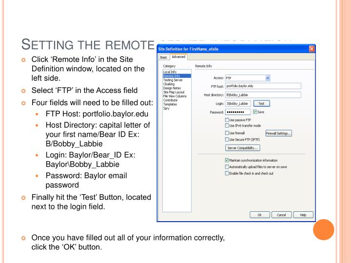 Setting the remote server information