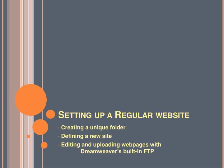 Setting up a Regular website