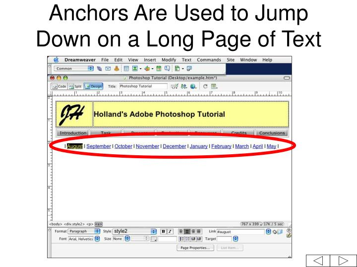 Anchors Are Used to Jump Down on a Long Page of Text