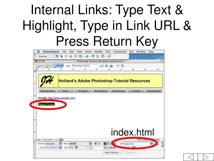 Internal Links: Type Text & Highlight, Type in Link URL & Press Return Key