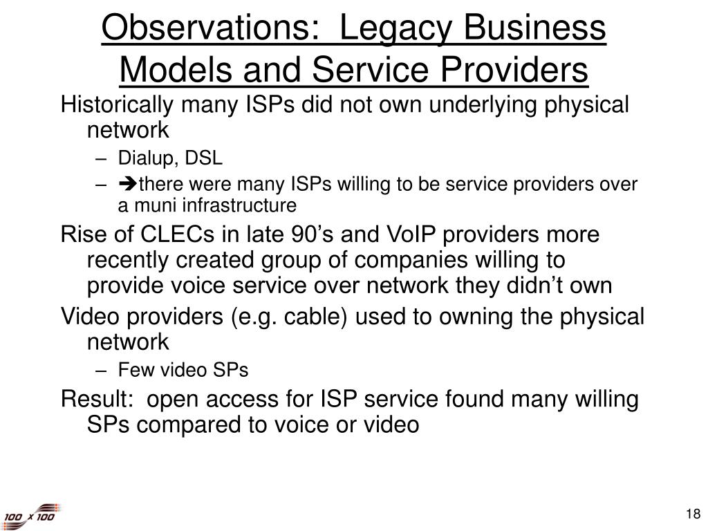 Observations:  Legacy Business Models and Service Providers